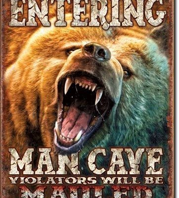 US Tin Sign - Man Cave - Grizzly