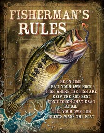 US Tin Sign - Fishermans Rules